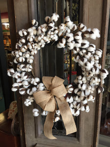 "22"" Cotton Boll Wreath With Burlap Bow"