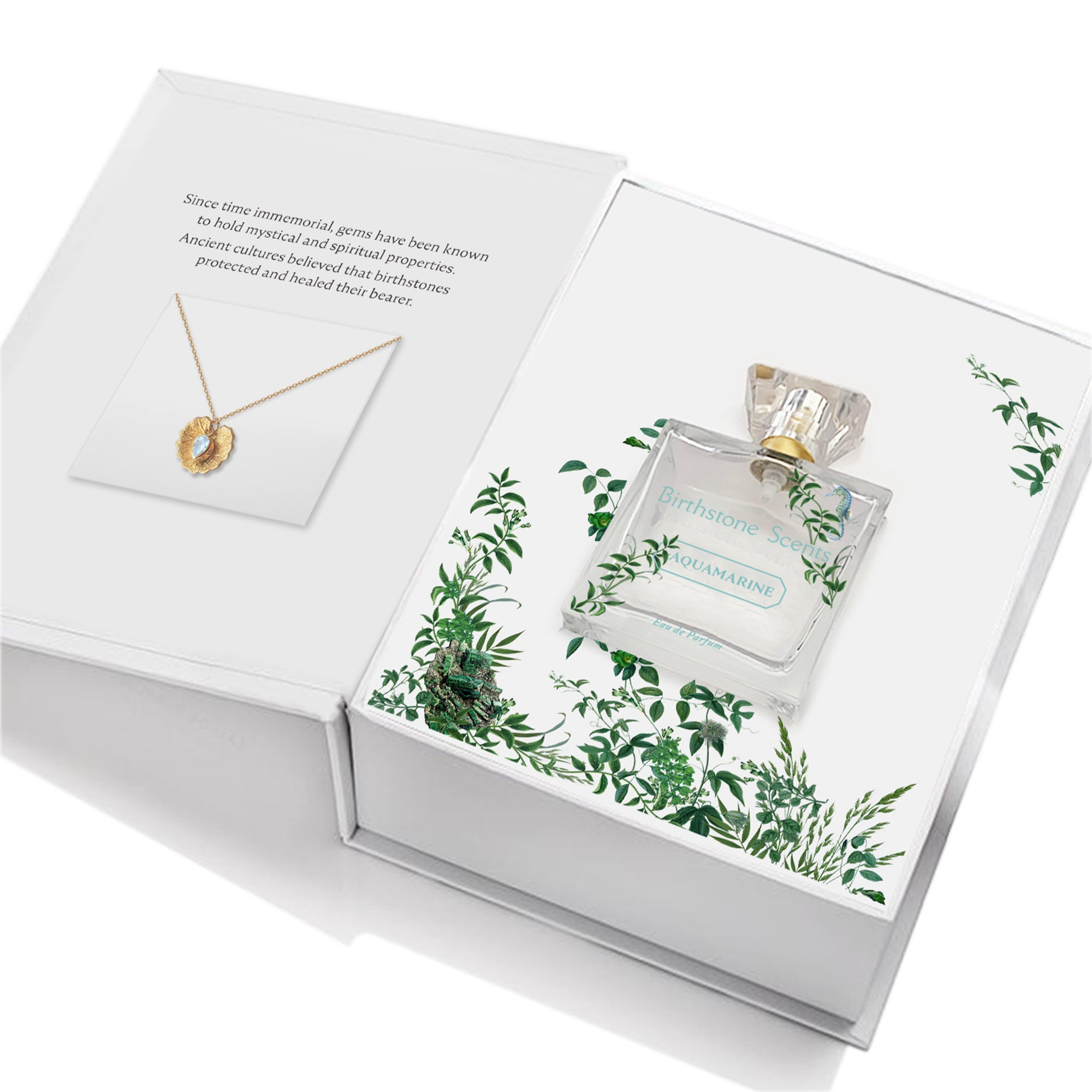 AQUAMARINE PERFUME WITH NECKLACE | March - Birthstone Scents