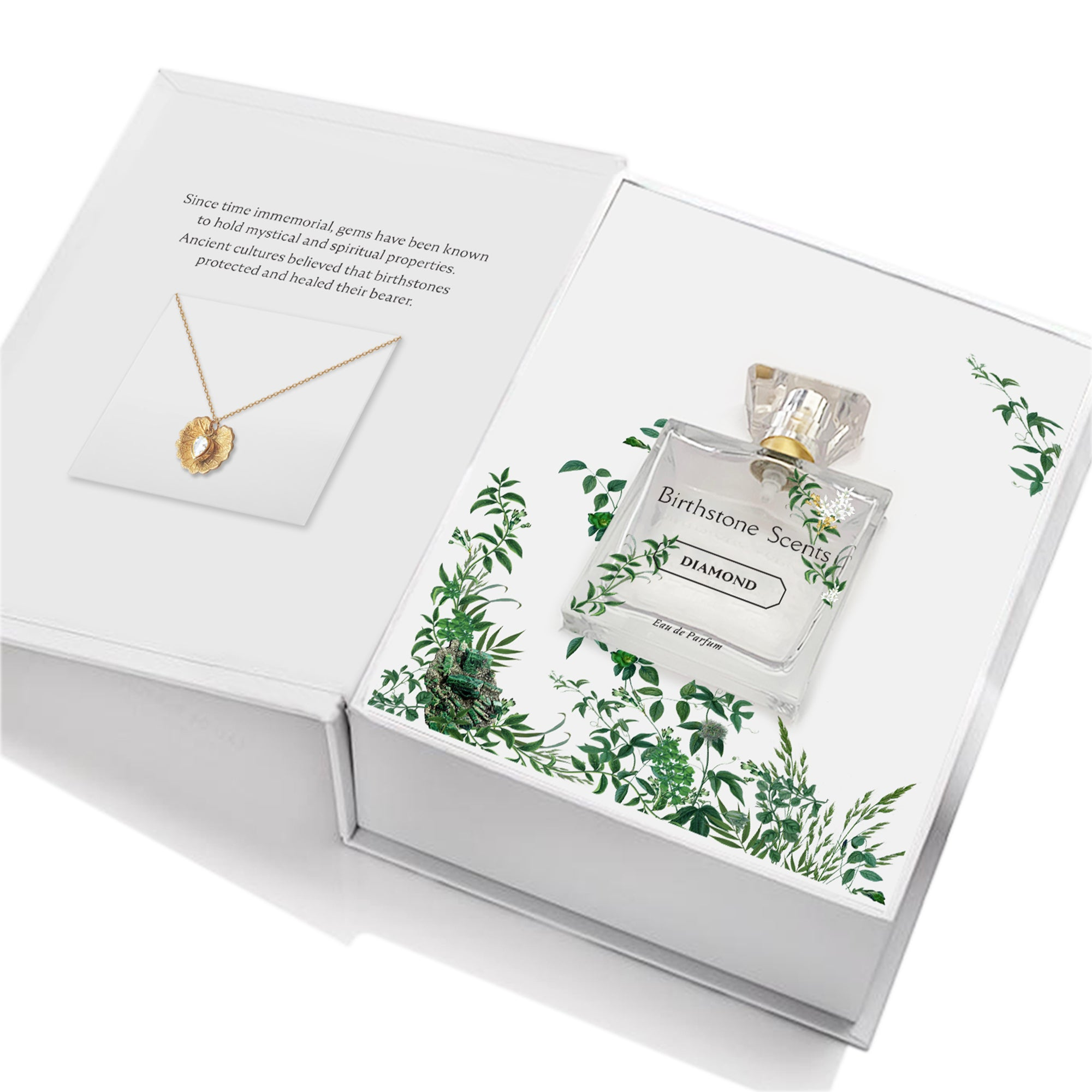 DIAMOND PERFUME WITH NECKLACE | April - Birthstone Scents