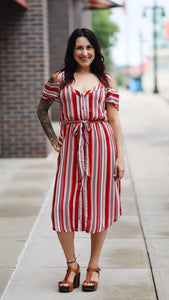 Button Down Cold Shoulder Dress