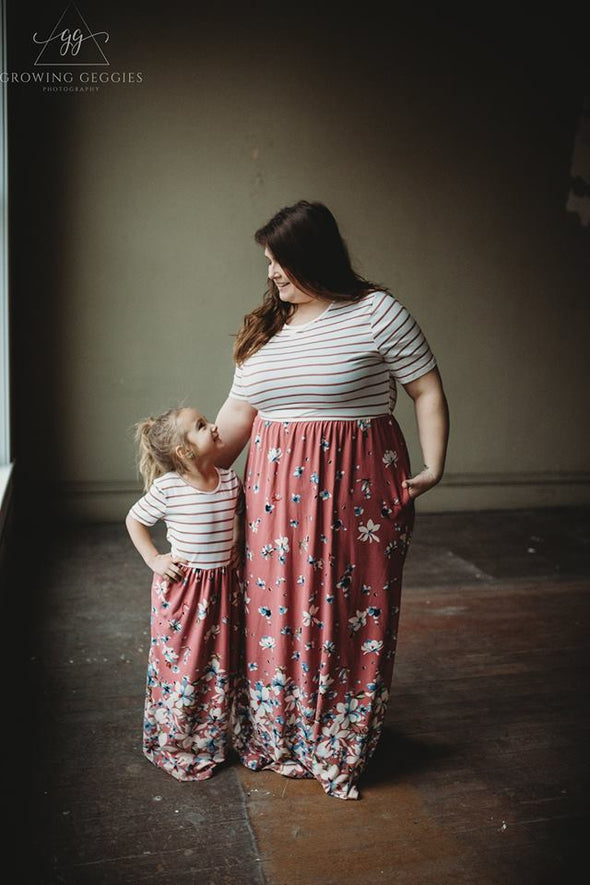 Mommy Me Floral Striped Dress