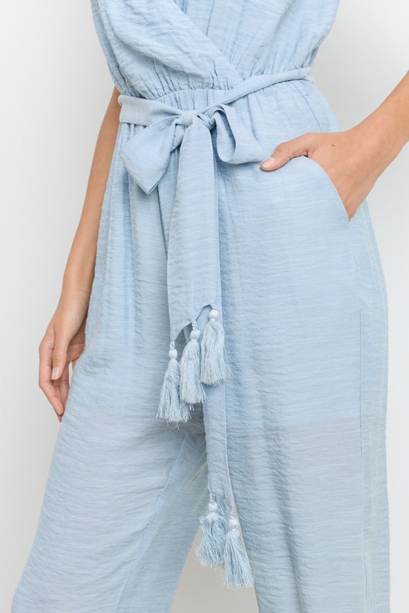 Sky Is Blue Wrap Tassle Jumper