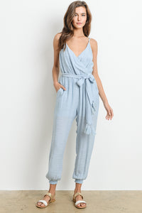 Sky Blue Wrap Tassle Jumper