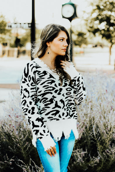 Leopard Fringe Sweater