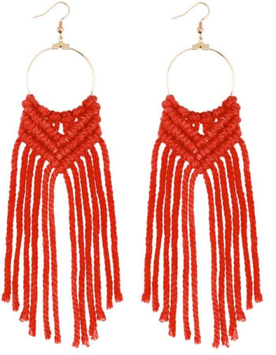 Red Macrame Earrings