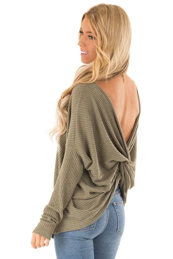 Olive Twist Back Top