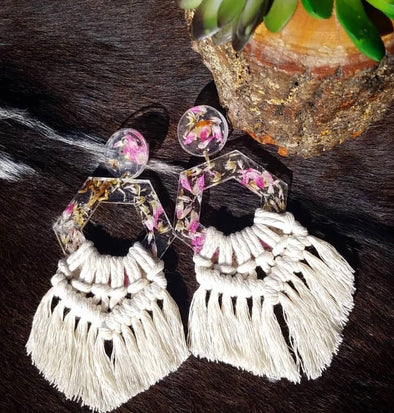 Macramé Floral Earrings