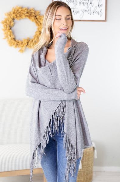 Fringe Wrap Sweater