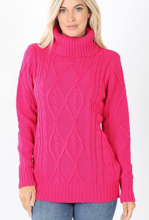 Pink Cable Knit Turtleneck