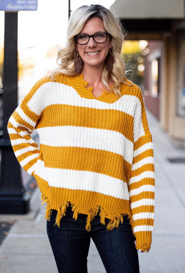 Striped Frayed Sweater