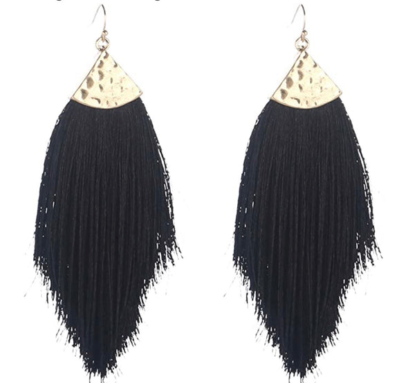 Black Boho Fringe Earrings