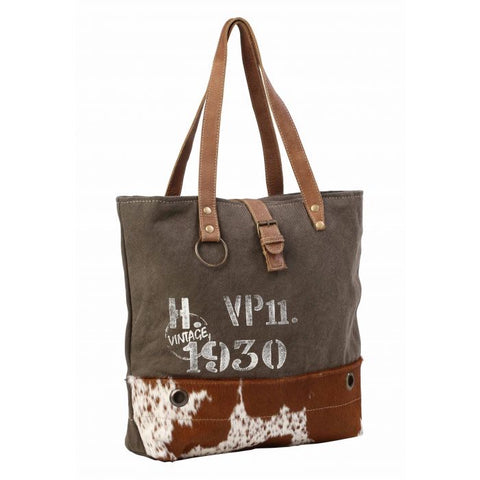 Myra cowhide and canvas tote bag