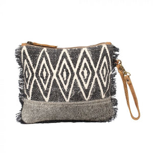 Myra canvas and cowhide pouch bag
