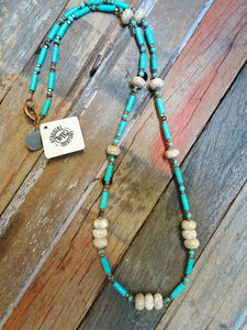 Long tan and turquoise necklace