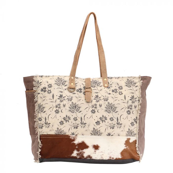 Cowhide and canvas over night bag