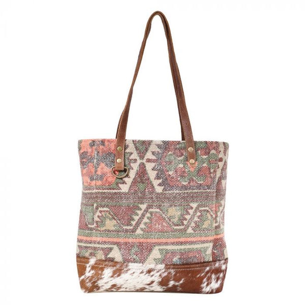 Myra canvas and cowhide tote bag #1595