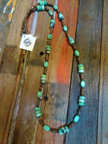 Green jasper and heishi long necklace