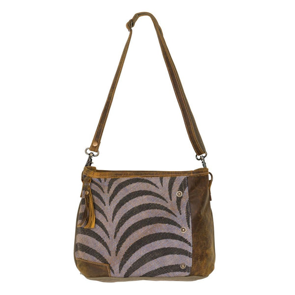 Myra canvas and leather shoulder bag