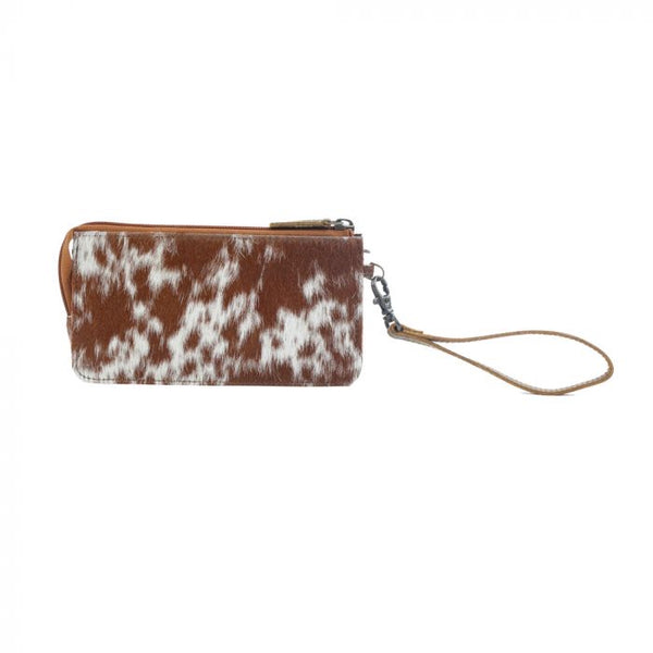 Brown hair on hide leather wallet