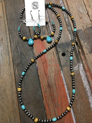 Long necklace and earrings set