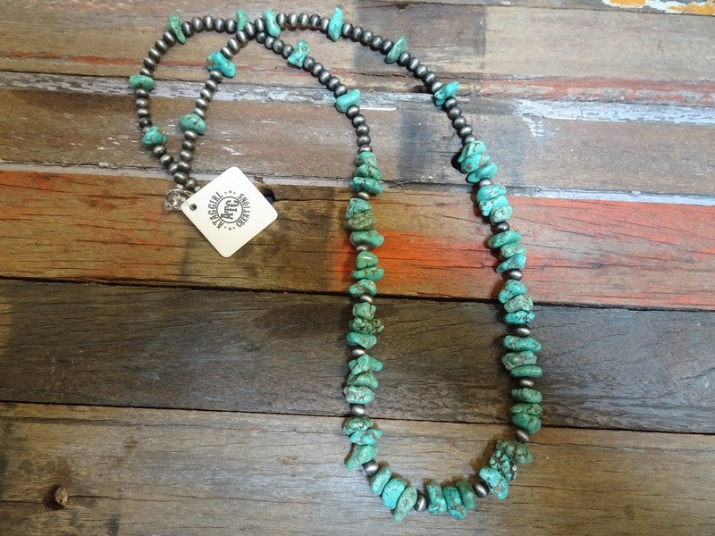 Chunky long turquoise necklace