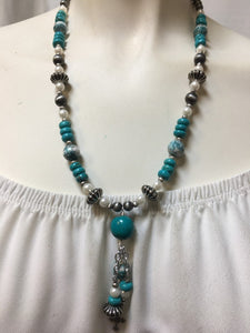 Turquoise and pearl necklace #N37-E