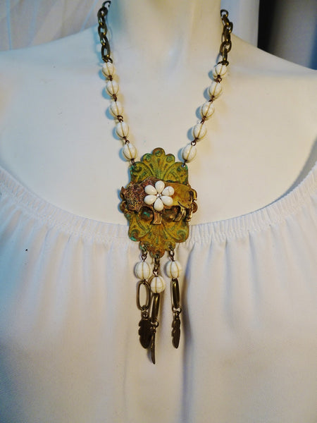 Brass buffalo vintage look necklace