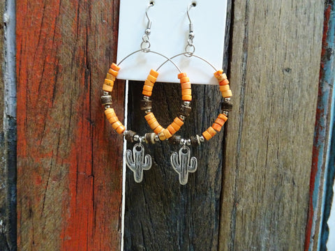 Orange cactus earrings #E32