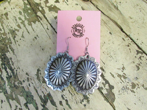 Nickle silver concho earrings ##24