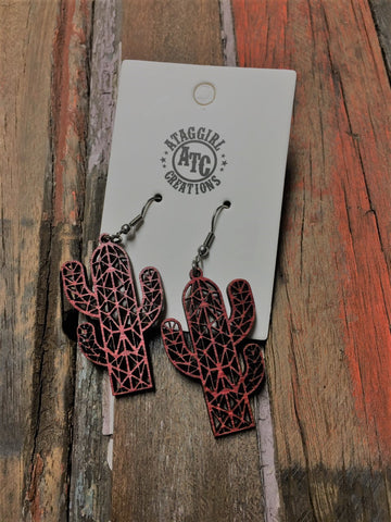 Red Cactus wood earrings #S13