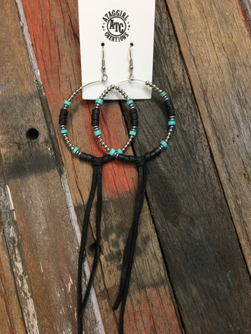 Hoop earrings Turquoise and black #E23