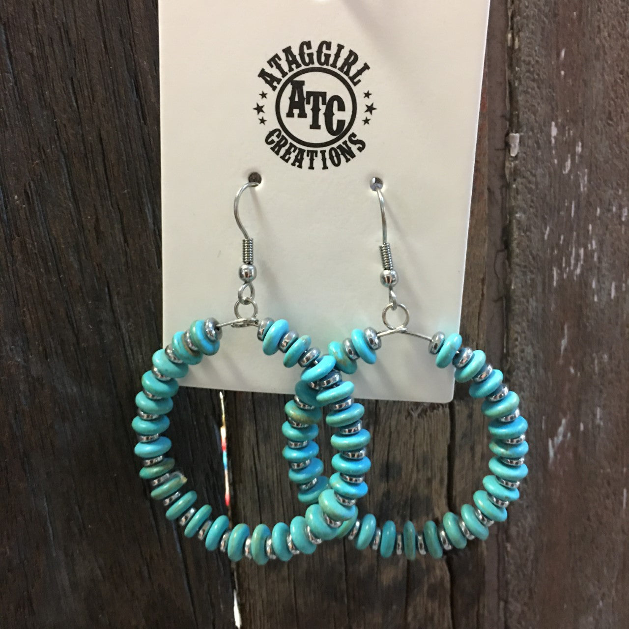 Turquoise hoop earrings #E28