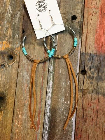 Hoop earrings leather tassle #E22