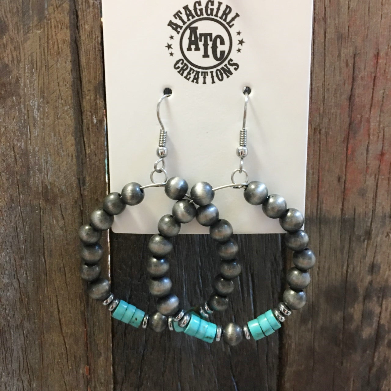 Indian pearl and Turquoise hoop earrings #E29