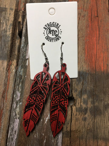 Red wood feather earrings #S14
