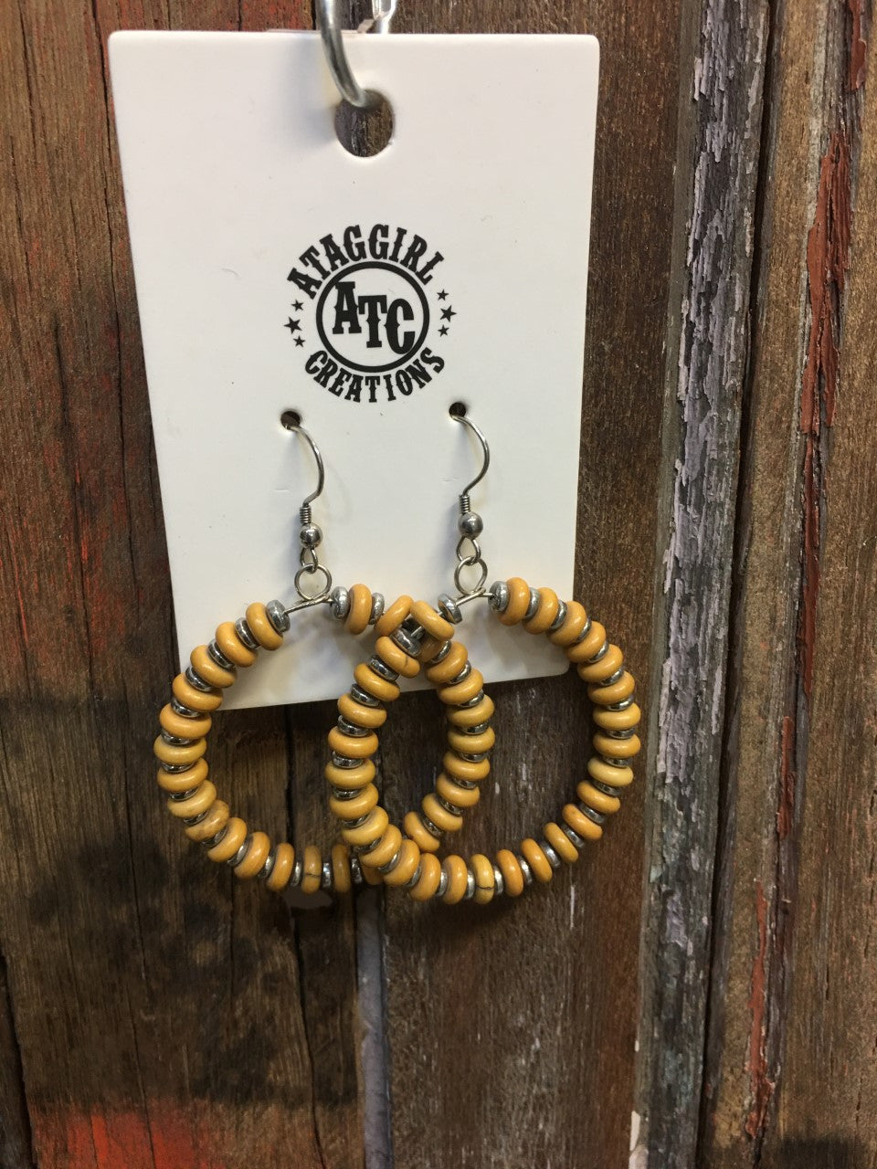 Mustard hoop earrings
