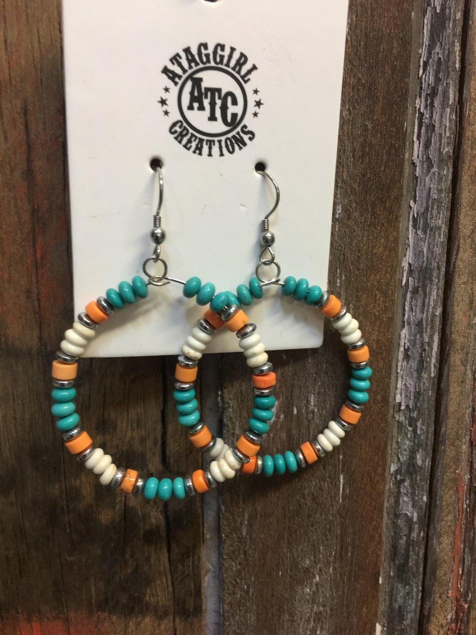 Turquoise orange and white hoop earrings
