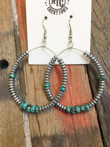 Hoop earrings genuine Turquoise #E20