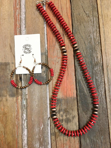 Red necklace and earring set #N146