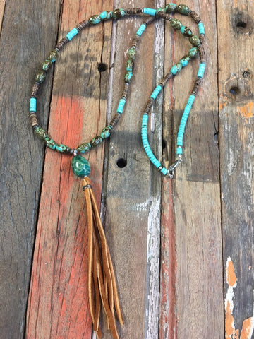 Long natural Turquoise and agate necklace #N150