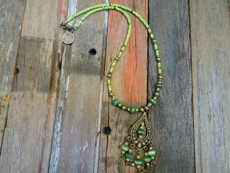 Lime green and turquoise necklace