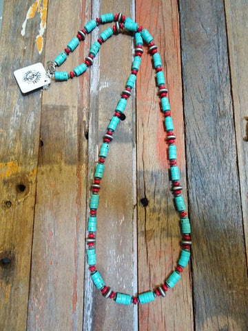 Turquoise heishi necklace #N32