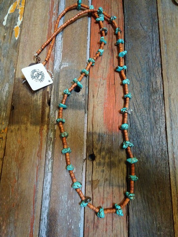 Turquoise nugget and rust heishi necklace #N33