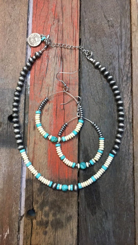 Cowgirl choker and hoop earring set