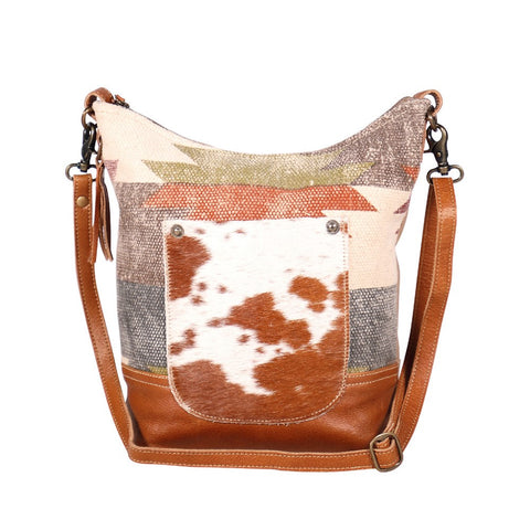 Myra cowhide and rug shoulder bag