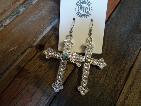 Bling cross earrings #s10