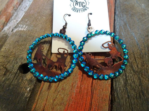 Western team roper earrings #s12