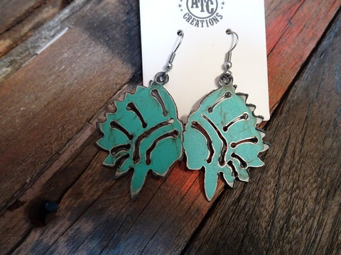 Turquoise indian chief earrings #s9