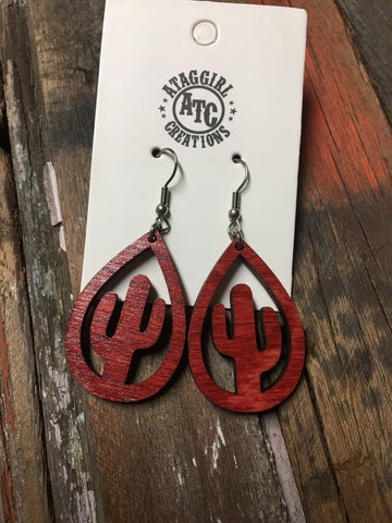 Red cactus wood earrings #S17