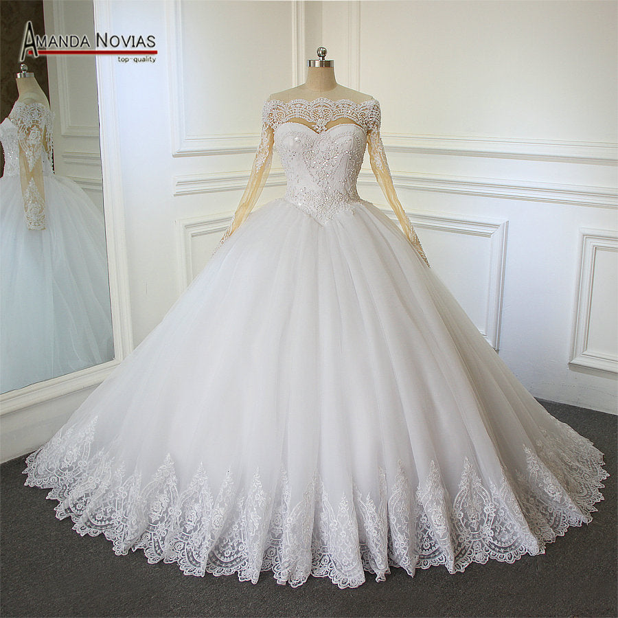 Ball Gown Wedding Dress Lace Long Sleeves Bridal Wedding Dresses ...